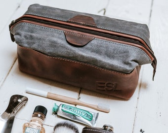 17761a762372 Leather PERSONALIZED Dopp Kit Waxed Canvas Groomsmen Gift Customize Leather Toiletry  Men s Toiletry Bag Leather Third Anniversary