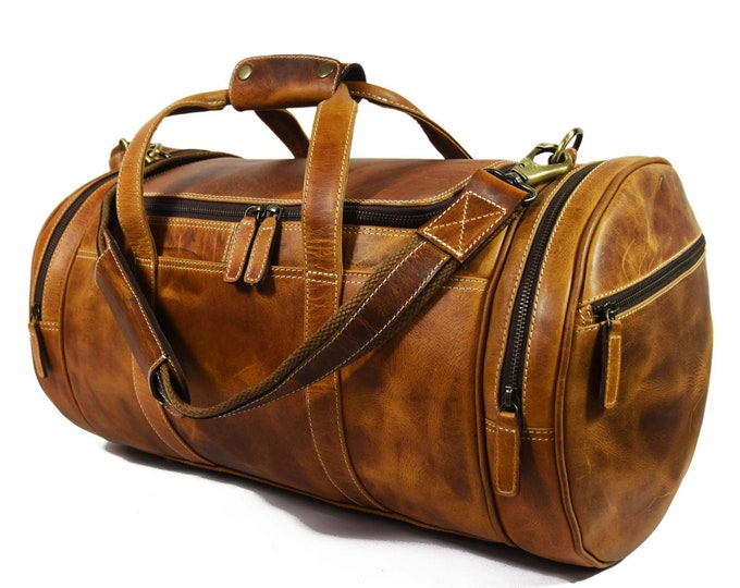 Handmade Leather Travel Duffle Bag/ Overnight Bag, Hold All - Vintage Lether