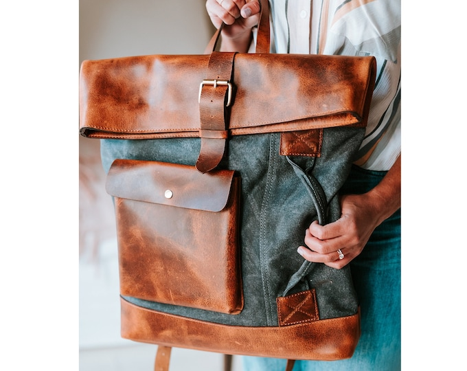 Waxed canvas backpack Leather backpack Canvas Rucksack Laptop Wax Canvas Rucksacks Travel Backpacks Canvas Daypack back pack