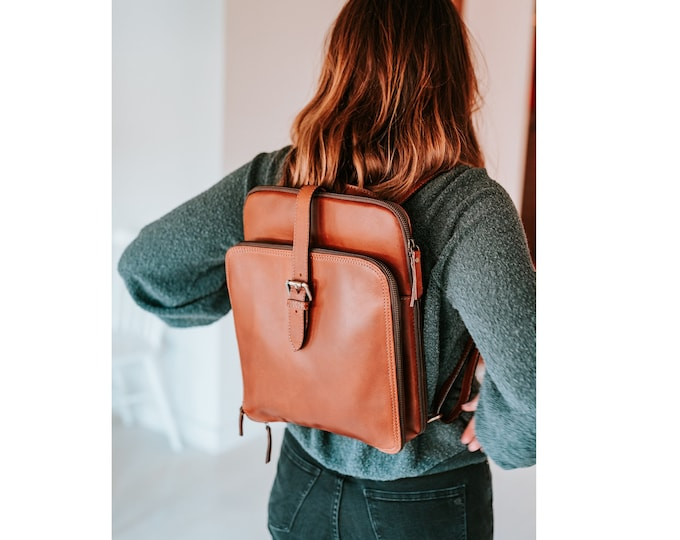 Leather Backpack, Women's Laptop Backpack, Personalized Leather Bag, Convertible Shoulder Bag, Leather Bag Leather Gift Christmas