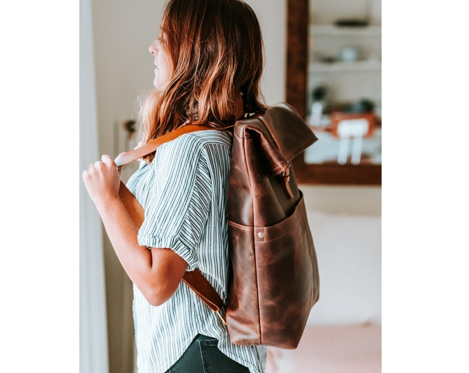 Leather Laptop backpack Roll top backpack women backpack Personalized gift, Leather rucksack,Mens backpack,City backpack,Leather book-bag