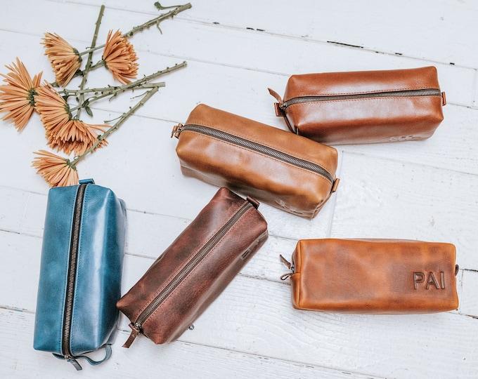 Groomsmen Gift - Mens Toiletry Bag Father Gift for Mens Gift for Him Leather Dopp Kit Bag Groom Gift Groomsman Gift Groomsmen Gift