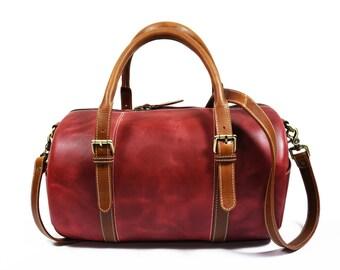 eb5223cae8 Handmade Leather Travel Duffle Bag  Overnight Bag