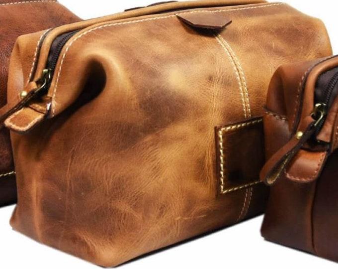 SALE - Leather Dopp Kit Groomsmen Gift Customize Leather Toiletry Bag Men's Toiletry Bag Leather Custom Dopp Kit  Third Anniversary