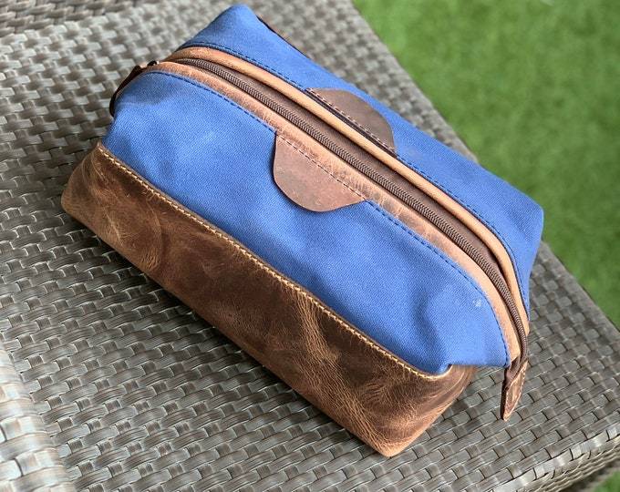 PREMIUM - Leather PERSONALIZED Dopp Kit Waxed Canvas Groomsmen Gift Customize Leather Men's Toiletry Bag Leather Third Anniversary