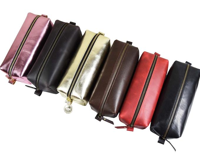 Leather Dopp Kit Makeup Bag Toiletry Bag Leather Custom Dopp Kit Bridesmaid Gift Customize Groomsmen Gift