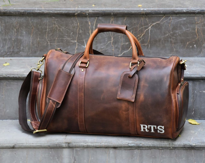 Premium Leather Handmade Holdall / Duffle - Personalized Weekend Bag - Overnight Leather Bag in Vintage Brown