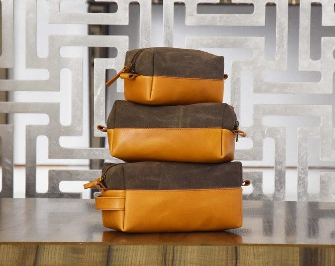 Summer SALE - Gift Leather Dopp Kit Waxed Canvas Groomsmen Gift  Customize Leather  Toiletry Bag Leather Custom Dopp Kit Third Anniversary
