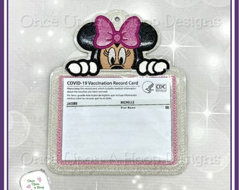 Ms Mouse Peeker Vaccine Card Holder ITH Digital Machine Embroidery Design - INSTANT Download