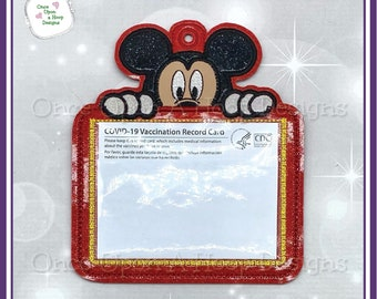 Mr Mouse Peeker Vaccine Card Holder ITH Digital Machine Embroidery Design - INSTANT Download