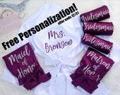 Bridesmaid Robes, Personalized Bridesmaid Robes, Maid of Honor Robe, Bride Robe, Bridal Party Satin Robes, Set of Bridesmaid Robes,