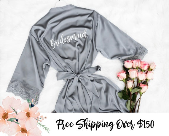 Grey Bridesmaid Bride Robes Or Mix N Match Colors Rose Gold Etsy
