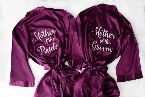 Joy Mabelle Womens silky satin kimono bridesmaid robes robes for mother of the bride or groom wedding robes in personalized pink glitter letters