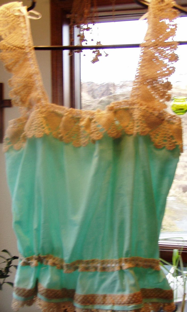 Vintage style Green Camisole with Handmade antique lace size 910