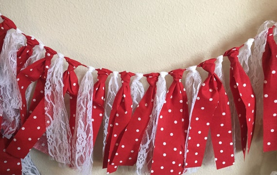 Red White Polka Dot and White Lace Fabric Garland, red white polka dot banner, white lace garland