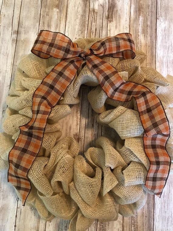 Fall Burlap Wreath, cream burlap wreath, plaid burlap wreath
