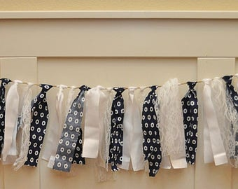 Navy, White & Lace Garland