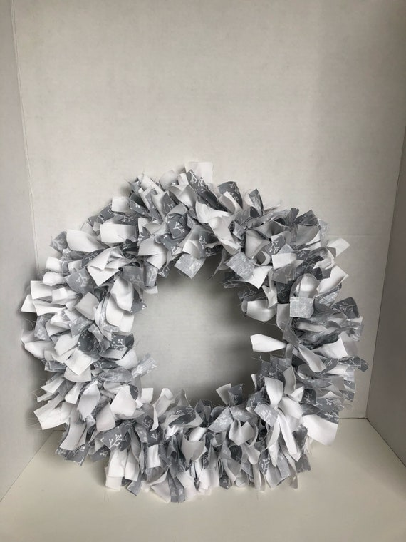 Gray and White Rag tie wreath