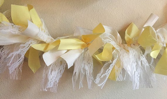 Yellow, Cream & Lace Rag Tie Garland, Yellow Rag Tie Garland, Lace Garland, Rag Tie Garland