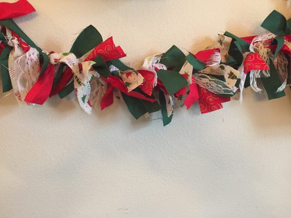 Christmas Fabric Rag Tie Garland, Holiday Garland, Holiday Banner, Rag Tie Garland, Fabric Tie Garland