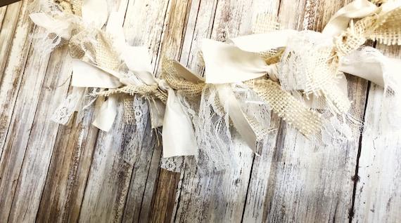 Fabric Lace Garland, wedding garland, fabric lace rag tie garland, lace garland, wedding garland, rag tie garland, burlap garland