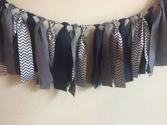Fabric Garland Silver, Gray & Navy