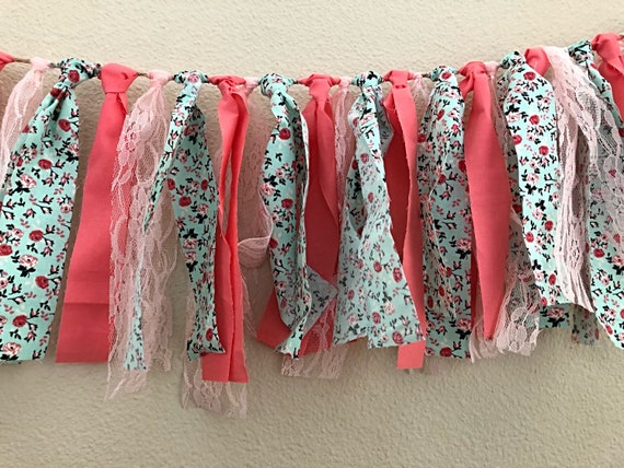 Mint floral, coral and pink lace Garland