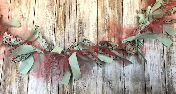 Turquoise with pink coral tulle garland, mint fabric garland, mint and coral garland, turquoise fabric banner