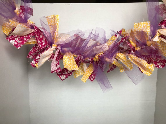 Pink, Yellow & Purple Tulle Fabric garland, tulle garland, fabric garland, rag tie garland, tulle rag tie garland
