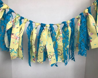 Yellow Bicycle and Turquoise Lace Garland