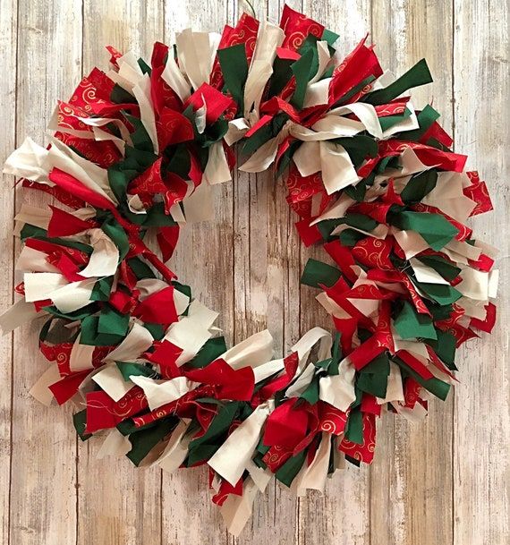 Christmas Rag Tie Wreath