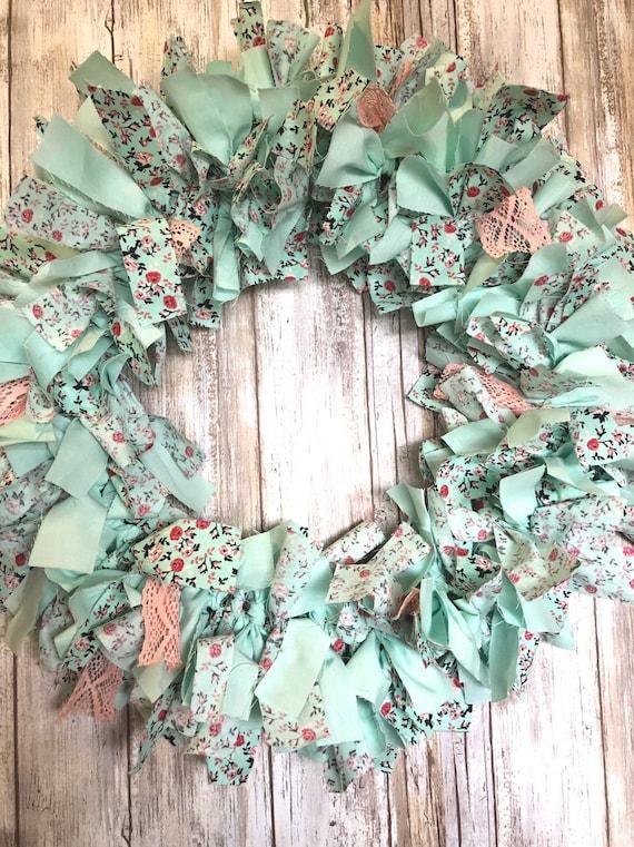 Turquoise Rag Tie Wreath, mint rag tie wreath, pink lace wreath, turquoise wreath, girls room wreath, front door wreath