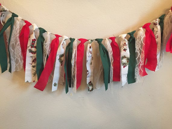 Christmas Fabric Garland with Lace