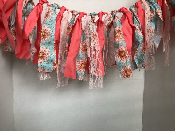 Fabric and Lace Garland, Pink Lace Garland, Blue and pink fabric garland, Fabric and pink lace garland, Fabric and lace banner