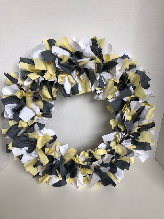 Gray Yellow and White Rag tie wreath, rag tie wreath, yellow rag tie wreath, white rag tie wreath, gray rag tie wreath