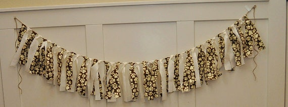 Paw Print Fabric garland, doggy garland, doggy banner, fabric tassel garland