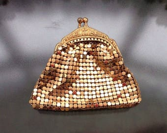 Vintage 1960's Gold Metal Mesh Ornate Embossed Snap Frame Small Coin Purse Doll