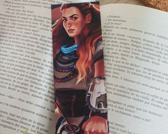 Horizon Zero Dawn bookmark, Aloy bookmark, video game bookmark, Horizon Zero Dawn Aloy, video game art, Horizon Zero Dawn gift, HZD Aloy