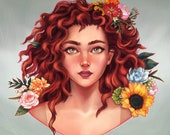 Red hair girl portrait, r...