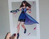 Final Fantasy art print, Final Fantasy Rinoa, Rinoa art print, Final Fantasy 8 fan art, Final Fantasy 8 poster, Rinoa art, video game print