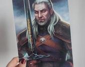 The Witcher art print, Witcher Geralt of Rivia art, The Witcher poster, Geralt of Rivia print, Witcher fan art, video game poster, geek art