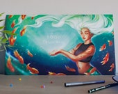 Mermaid art print, mermai...