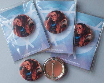 Horizon Zero Dawn button badge, Horizon Zero Dawn pin badge, Aloy button pin, Aloy pinback button, video game pin badge, video game button