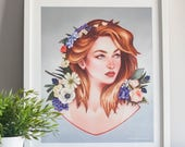 Spring girl art print, sp...