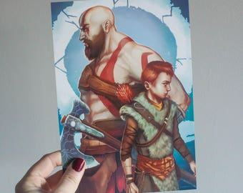 God of War 4, Kratos art print, God of War art print, God of War Kratos, God of War poster, God of War ps4, Kratos art, video game poster