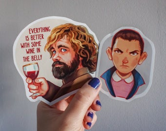 Stranger Things sticker, Game of Thrones sticker,  sticker eleven, tyrion sticker, sticker for laptop, TV series sticker, sticker fan art