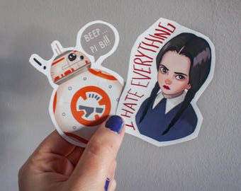 Wednesday Addams sticker, star wars sticker bb8, pack stickers laptop, art sticker handmade, movie sticker, sticker fan art, addams family