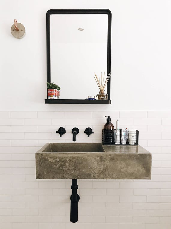 Polished Concrete Bathroom Sink Etsy