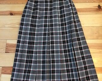70's checked wool skirt