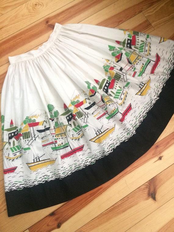 1950's vintage sail boat novelty skirt skirt.